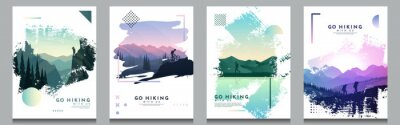 Fototapeta Vector brochure cards set. Travel concept of discovering, exploring and observing nature. Hiking. Adventure tourism. Flat design template of flyer, magazine, book cover, banner, invitation, poster.