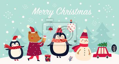 Fototapeta Vector Christmas banner with funny characters bear, snowman, penguin