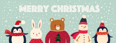 Vector Christmas banner with funny characters bear, snowman, penguin and bunny