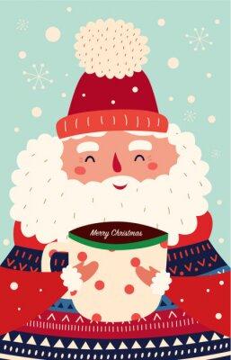 Fototapeta Vector Christmas cartoon illustration. Cute Santa Claus with a cup of hot chocolate