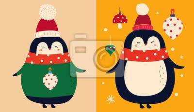 Fototapeta Vector Christmas cartoon illustration of cute penguins with scarf