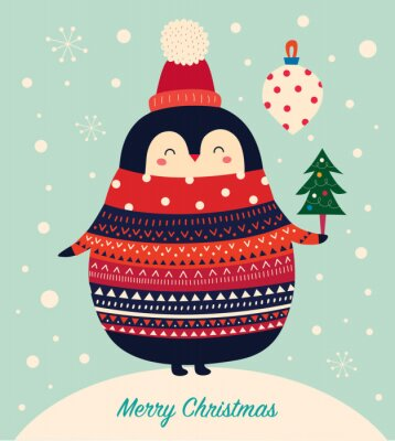 Vector Christmas cartoon illustration of cute penguins with sweater