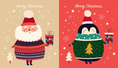 Vector Christmas cartoon illustration of cute penguins with sweater and Santa Claus