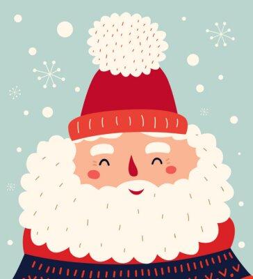 Vector Christmas cartoon illustration of cute Santa Claus
