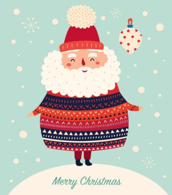 Fototapeta Vector Christmas cartoon illustration of cute Santa Claus in sweater