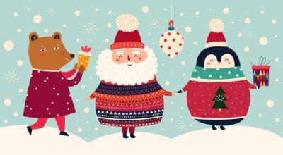 Vector Christmas cartoon illustration of cute Santa Claus in sweater