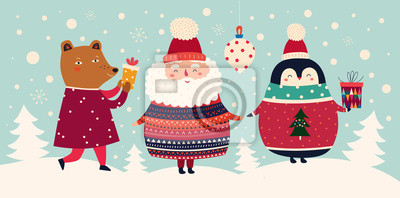 Fototapeta Vector Christmas cartoon illustration of cute Santa Claus in sweater