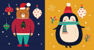Vector Christmas cartoon illustration with cute penguin and bear