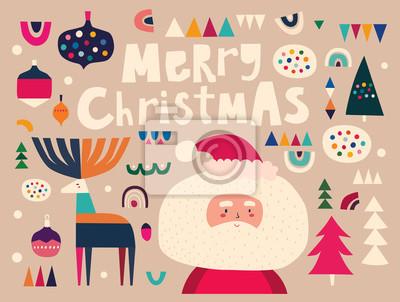 Fototapeta Vector Christmas cartoon illustration with cute Santa Claus and decorative deer