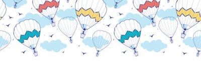 Fototapeta Vector colorful hot air balloons horizontal border seamless
