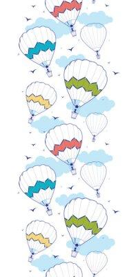 Fototapeta Vector colorful hot air balloons vertical border seamless