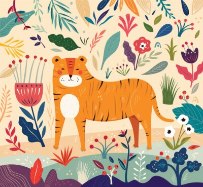 Vector colorful illustration with  flowers, leaves and tiger. Trendy vector illustration