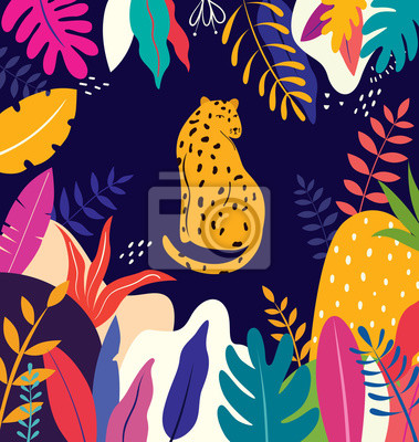 Vector colorful illustration with tropical flowers, leaves and leopard. Brazil tropical pattern.
