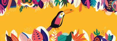 Fototapeta Vector colorful illustration with tropical flowers, leaves and toucan