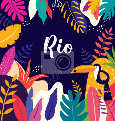 Vector colorful illustration with tropical flowers, leaves and toucan. Brazil tropical pattern.
