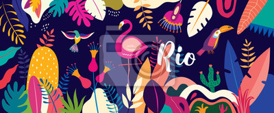 Vector colorful illustration with tropical flowers, leaves, flamingo and birds. Brazil tropical pattern.