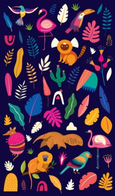Fototapeta Vector colorful illustration with tropical flowers, leaves, monkey, flamingo and birds. Brazil tropical pattern.  Rio de janeiro pattern,.