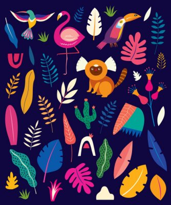 Vector colorful pattern with tropical flowers, leaves, monkey, flamingo and birds. Brazil tropical pattern.  Rio de janeiro pattern,.