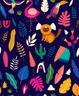 Vector colorful seamless pattern with tropical flowers, leaves, monkey, flamingo and birds. Brazil tropical pattern.  Rio de janeiro pattern,.