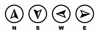 Fototapeta Vector compass icons of north, south, east and west direction. Map symbol. Arrow icon. Vector illustration.