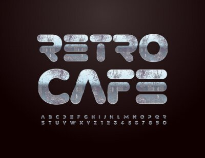 Fototapeta Vector creative concept Retro Cafe with old style Silver Alphabet Letters and Numbers set. Aged metal Font