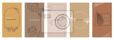 Fototapeta Vector design templates in simple modern style with copy space for text, flowers and leaves
