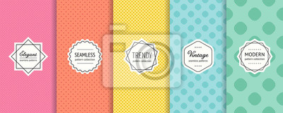 Fototapeta Vector dots seamless patterns collection. Set of colorful background swatches with elegant minimal labels. Abstract textures with circles, polka dot design. Pink, red, yellow, blue, green color