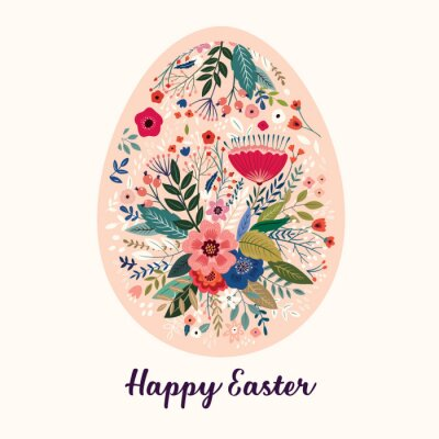 Fototapeta Vector Easter holiday card with Easter egg
