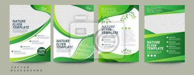 Fototapeta Vector eco flyer, poster, brochure, magazine cover template. Modern green leaf, environment design. - Vector
