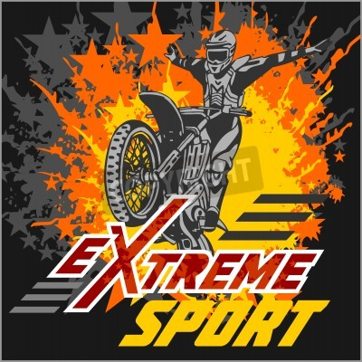 Fototapeta Vector eXtreme sport - motocross i godło.