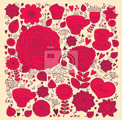 Fototapeta Vector Flower romantyczne życzeniami