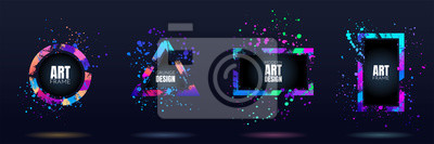 Fototapeta Vector frame for text. Modern Art graphics. Dynamic frame stylish geometric black background. Element for design business cards, invitations, gift cards, flyers and brochures. Distruction color paint