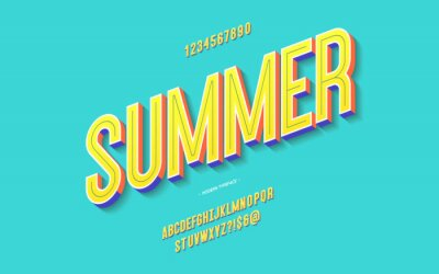 Fototapeta Vector fun summer font 3d bold color style modern typography for decoration, logo, poster, t shirt, book, card, sale banner, printing on fabric, industrial. Cool typeface. Trendy alphabet. 10 eps