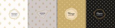 Fototapeta Vector golden geometric seamless patterns with modern minimal labels. Elegant diamond ornament. Subtle gold textures set with linear rhombus shapes. Art deco style. Trendy background. Premium design
