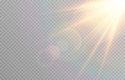 Fototapeta Vector golden light with glare. Sun, sun rays, dawn, glare from the sun png. Gold flare png, glare from flare png.