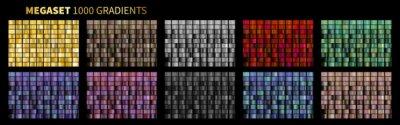 Fototapeta Vector Gradients Megaset Big collection of metallic gradients 1000 glossy colors backgrounds Gold, bronze
