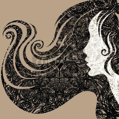Fototapeta Vector grunge Closeup dekoracyjne rocznika kobieta z długimi włosami piękne (Z mojego