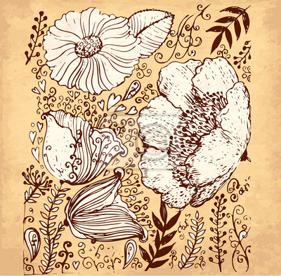 Fototapeta Vector hand drawn illustration with flowers