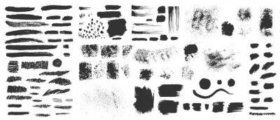 Fototapeta Vector hand drawn ink design elements. Sponge stamps, dry brush marks, splatter sprinkles, pastel pencil textures. Set of grunge black artistic brushstroke design elements isolated on white background