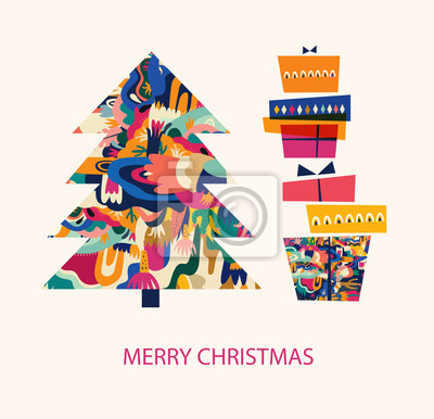 Vector holiday illustration with Christmas tree and gift boxes. Merry Christmas greeting card