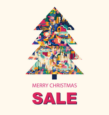 Vector holiday illustration with Christmas tree. Merry Christmas greeting card