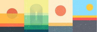 Fototapeta Vector illustration. Bauhaus. Mid century modern graphic. Grunge texture. Minimalist landscape set. Abstract shapes. Design elements for poster, book cover, brochure, magazine, presentation, card