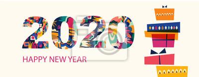 Fototapeta Vector illustration for New Year celebration with gift box
