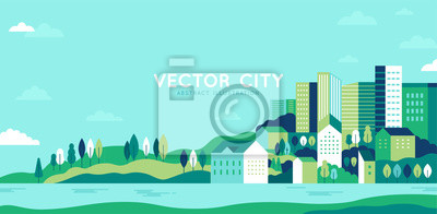 Fototapeta Vector illustration in simple minimal geometric flat style - city landscape with buildings, hills and trees - abstract horizontal banner