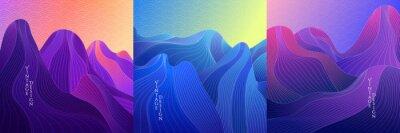 Fototapeta Vector illustration. Landscape set. Hills, mountains. Linear wave concept. Striped background. Asian style. Japanese line pattern. Design for social media template, web banner. Blue, purple color