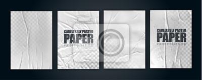 Fototapeta vector illustration object. badly glued white paper. crumpled poster