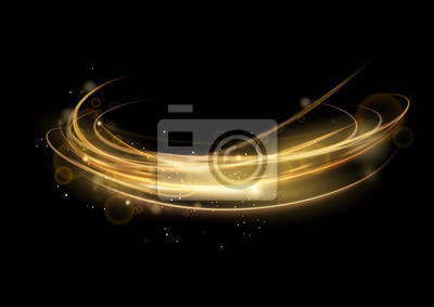Fototapeta Vector illustration of golden abstract transparent light effect isolated on black background, round sparcles and light lines in golden color. Abstract background for science, futuristic, energy