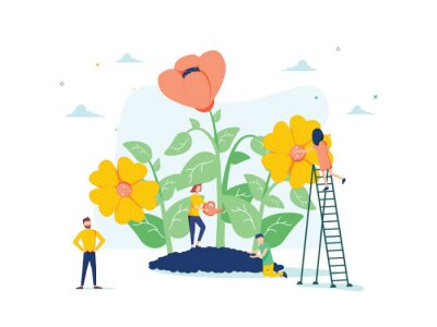 Fototapeta Vector illustration of spring flowers on white background, gardeners look after the garden, growing and studying plants