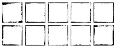 Fototapeta Vector illustration. Set of 10 frames in grunge style. Dirty borders collection on white background. Design elements for banner, poster, flyer, invitation, card, social networks, blog posts, stories