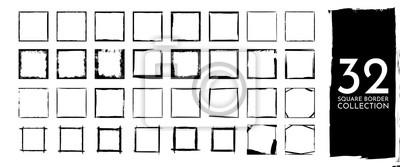 Fototapeta Vector illustration. Set of frames in grunge style. Dirty frame with a splash of black paint. Transparent background. Design elements for banner, poster, flyer, invitation, card, social networks